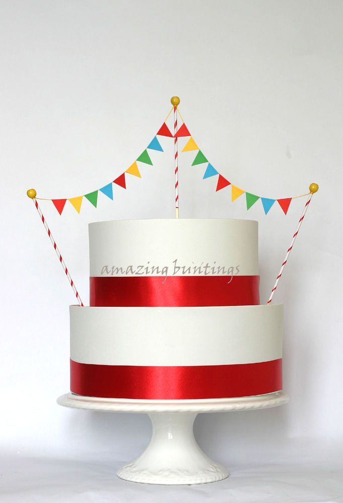 Circus Bunting Rainbow Birthday Cake Topper Hand Made 2 Tier Flags
