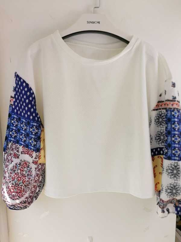 8af545c300c77d retro style casual spring tops patwork floral chiffon long sleeve blouse loose  womens white shirts bohemian
