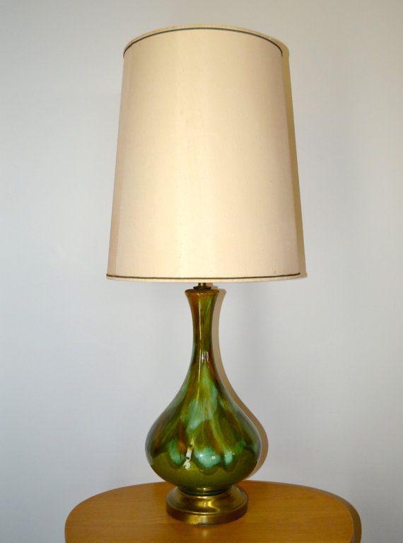 Mid Century Modern Green Drip Glaze Ceramic Table Lamp Etsy Vintage Table Lamp Ceramic Table Lamps Ceramic Lamp
