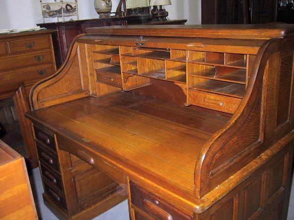 Antique Roll Top Desk Oak Executive Size S Tambour Door