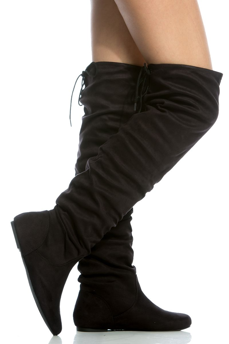 20b36759c6a Black Faux Suede Ruched Thigh High Boots   Cicihot Boots Catalog women s  winter boots