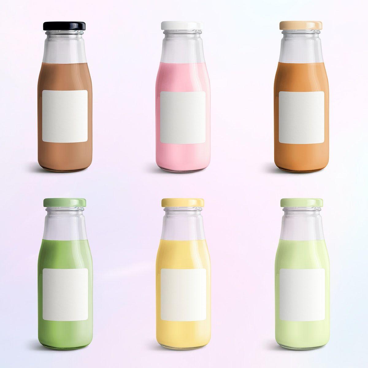 Download Premium Psd Of Colorful Milk Tea In Glass Bottle Mockups 2392082 Milk Tea Bottle Mockup Milk Packaging