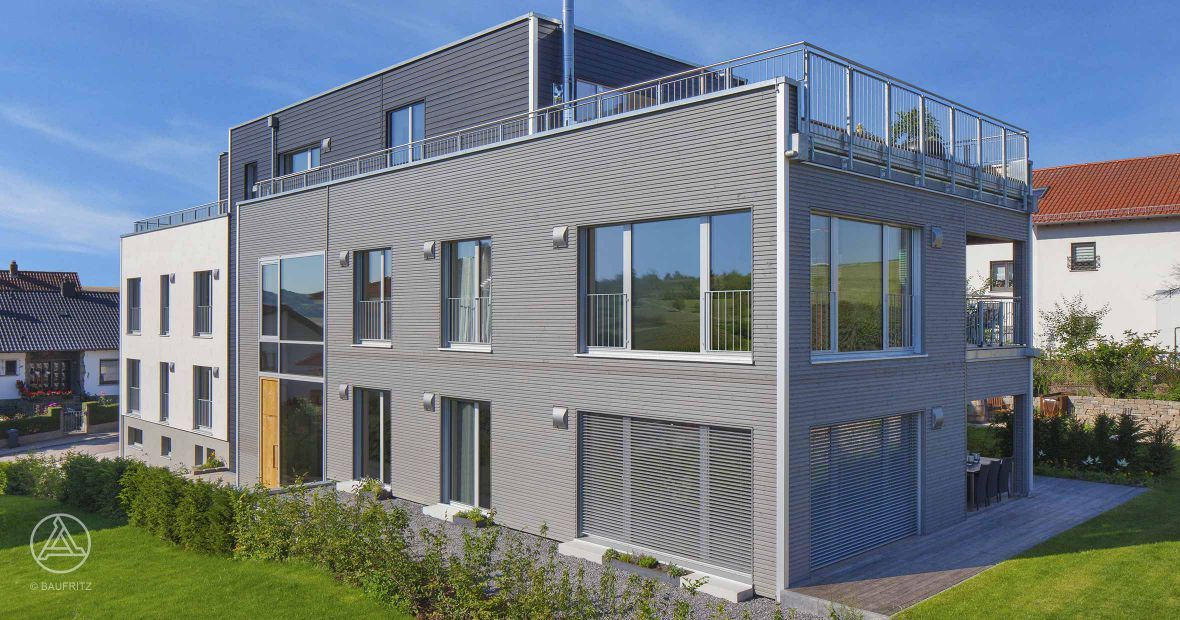 Marvelous Große Eingangstüre Aus Eichenholz, Dachterrasse Rund Um Das Haus Sowie  Flachdach U2013 Baufritz Mehrfamilienhaus Weirich