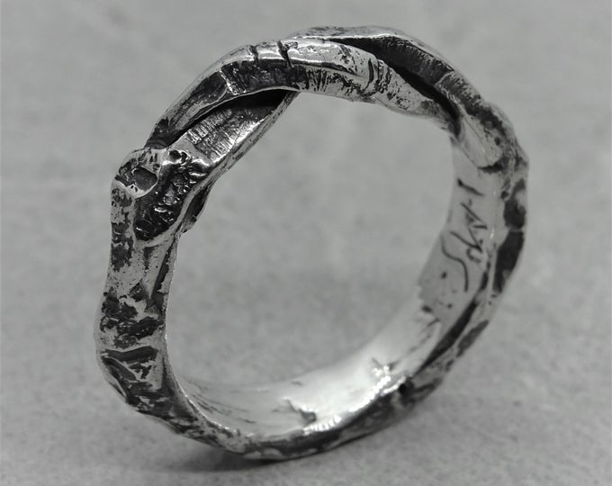 unique silver ring texture ring handcrafted sterling silver ring unisex silver ring designer ring oxidized silver Shield brutal ring