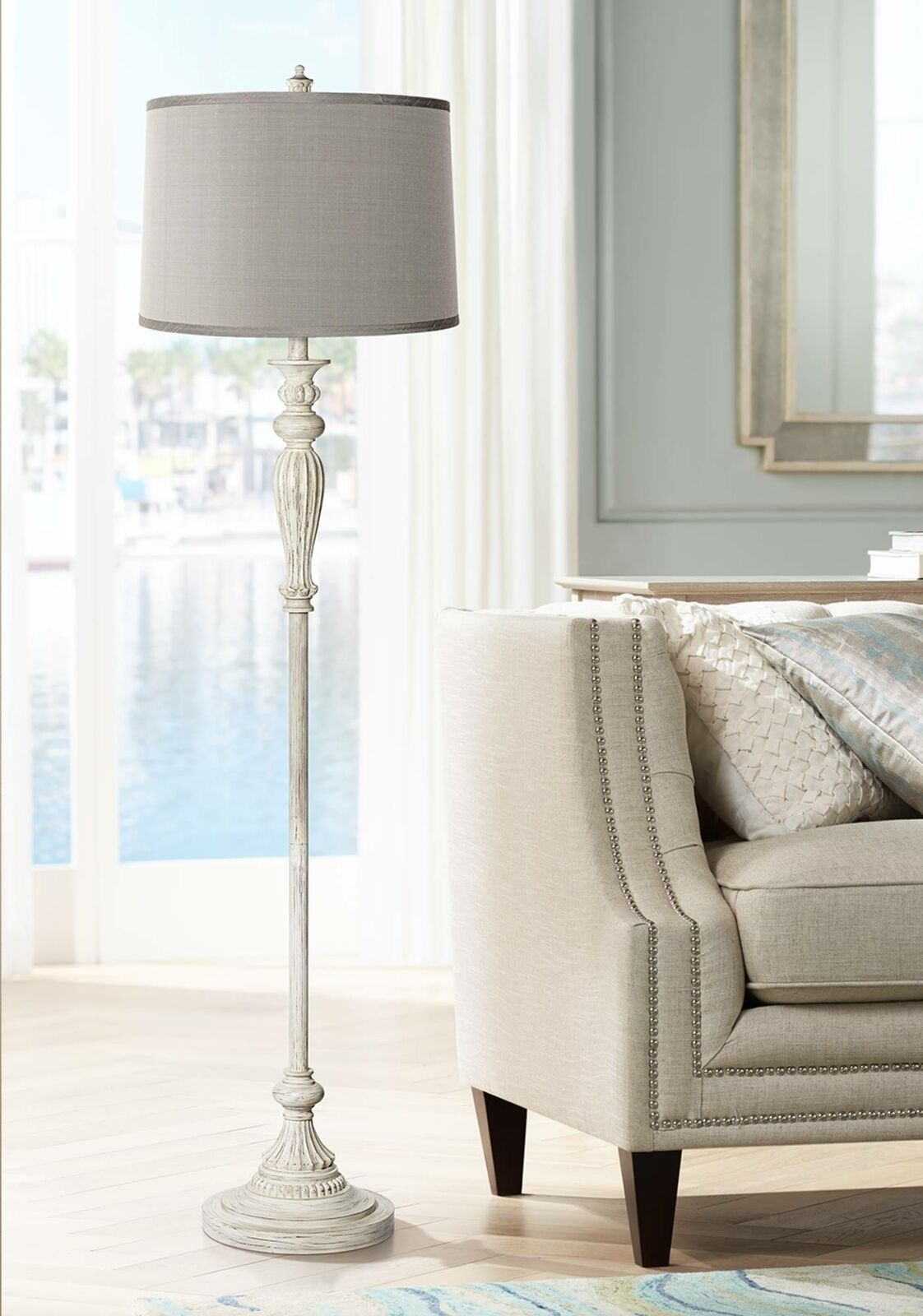 Details About Shabby Chic Floor Lamp Antique White Platinum Gray