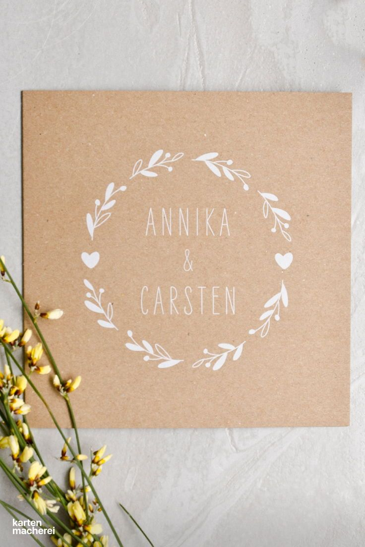 Hochzeitseinladung Floral Wreath Kraftpapier #weddingonabudget
