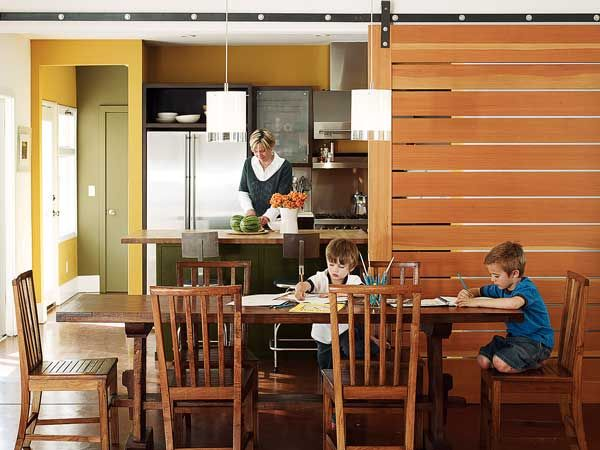 Slatted Wood Sliding Door Is A Modern Take On The Sliding Barn Door