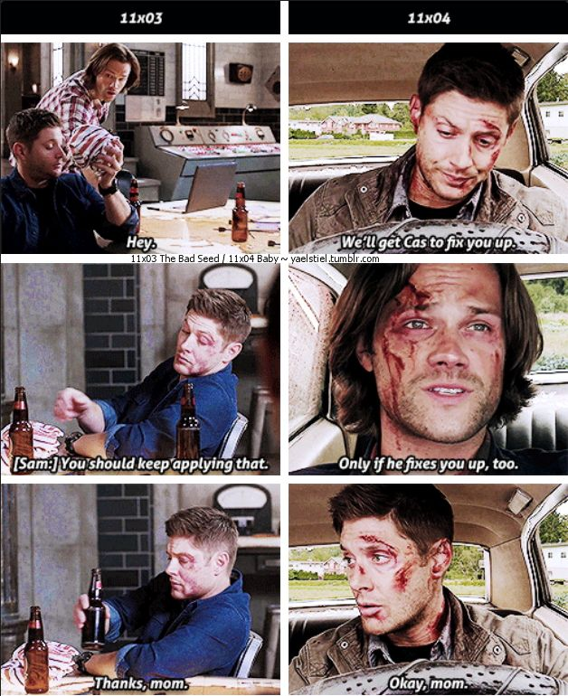 541cb7fe81fb 11x04 Baby and 11x03 The Bad Seed  gifset  - Dean calling Sam