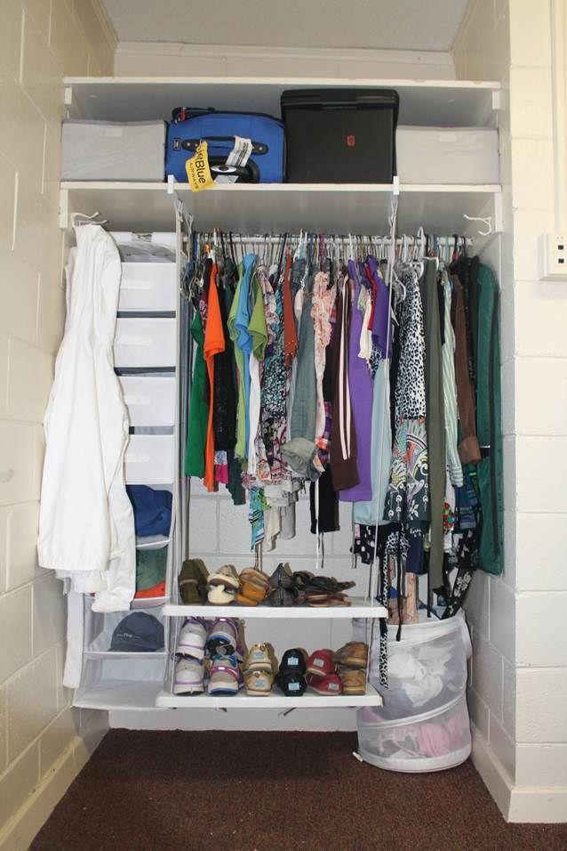 How to organize a dorm room closet