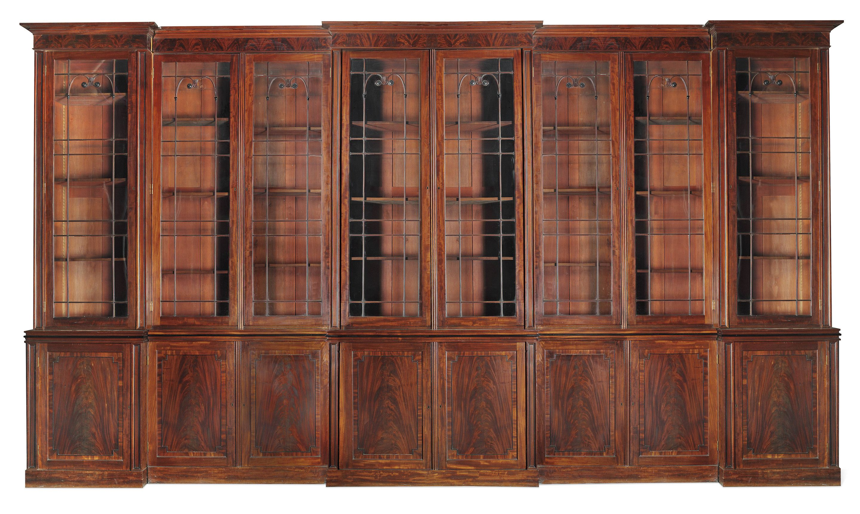 Very Large Regency Period Triple Breakfront Mahogany Bookcase