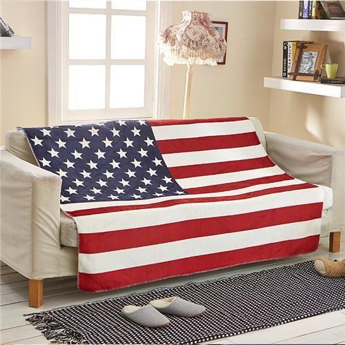 USA American Flag Fleece Blanket