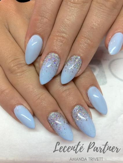 Nails By Amanda Trivett Using Lecente Silver Holo Multiglitz Glitter Mixed With Everest Super Holo Glitter Lovelecent Quinceanera Nails Cinderella Nails Nails