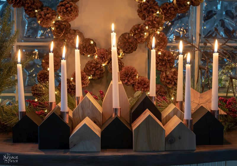 DIY Wood House Candle Holders