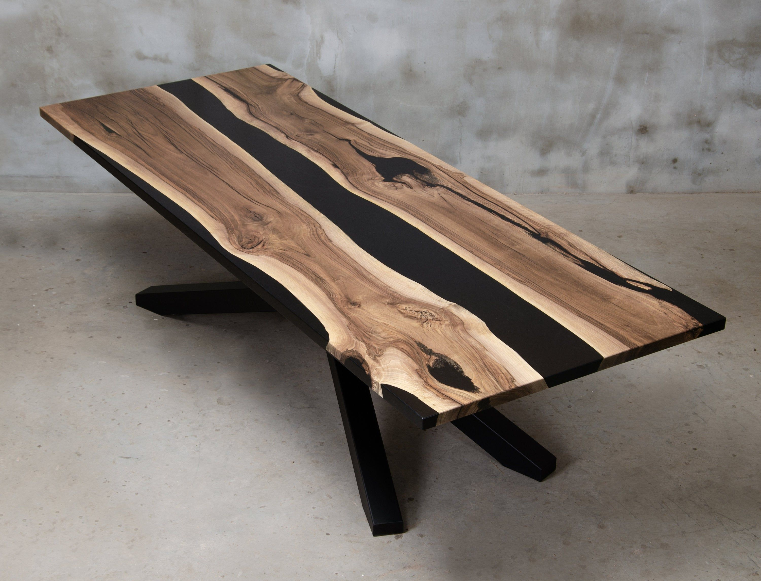 Personalized Live Edge Table Made Of European Walnut Wood Black Resin Table With Metal Leg Unique Epoxy Table Conference Table For Office Stol Impregnacja Stal