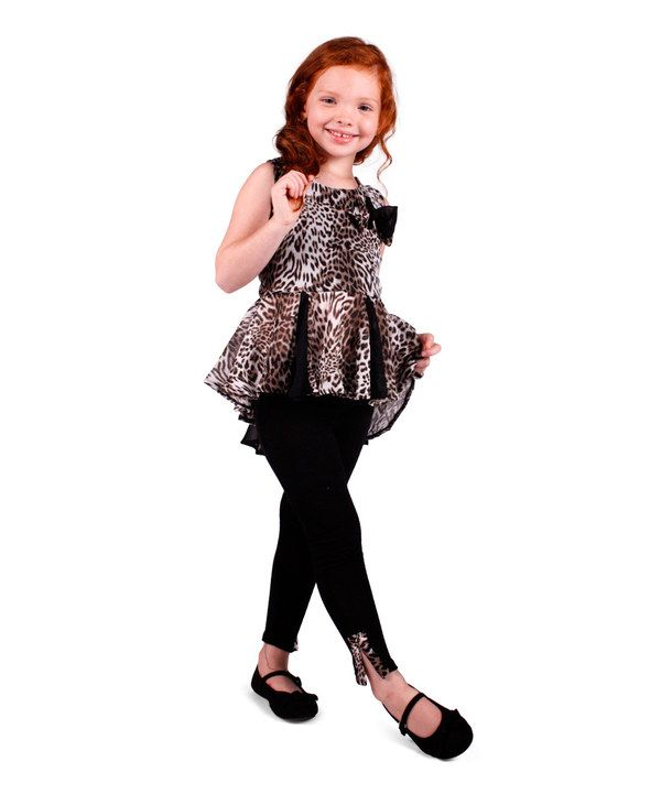 7fb09c109912e Look at this Mia Belle Baby Tan Leopard Peplum Tunic & Black Leggings -  Toddler & Girls on #zulily today!