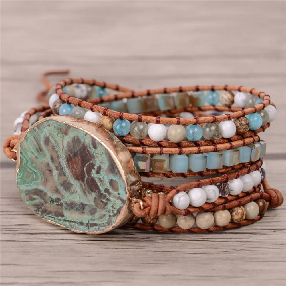 Women Leather Bracelet Ocean Stone Beaded Bohemian Wrap Turquoise Jasper Bangle