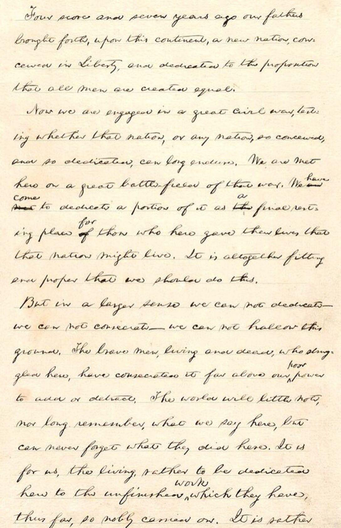 Draft Of Abraham Lincoln S Gettysburg Address Abraham Lincoln