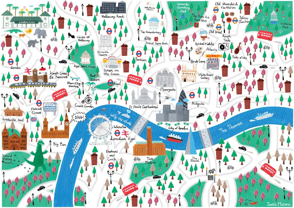 map of london jamie malone illustration
