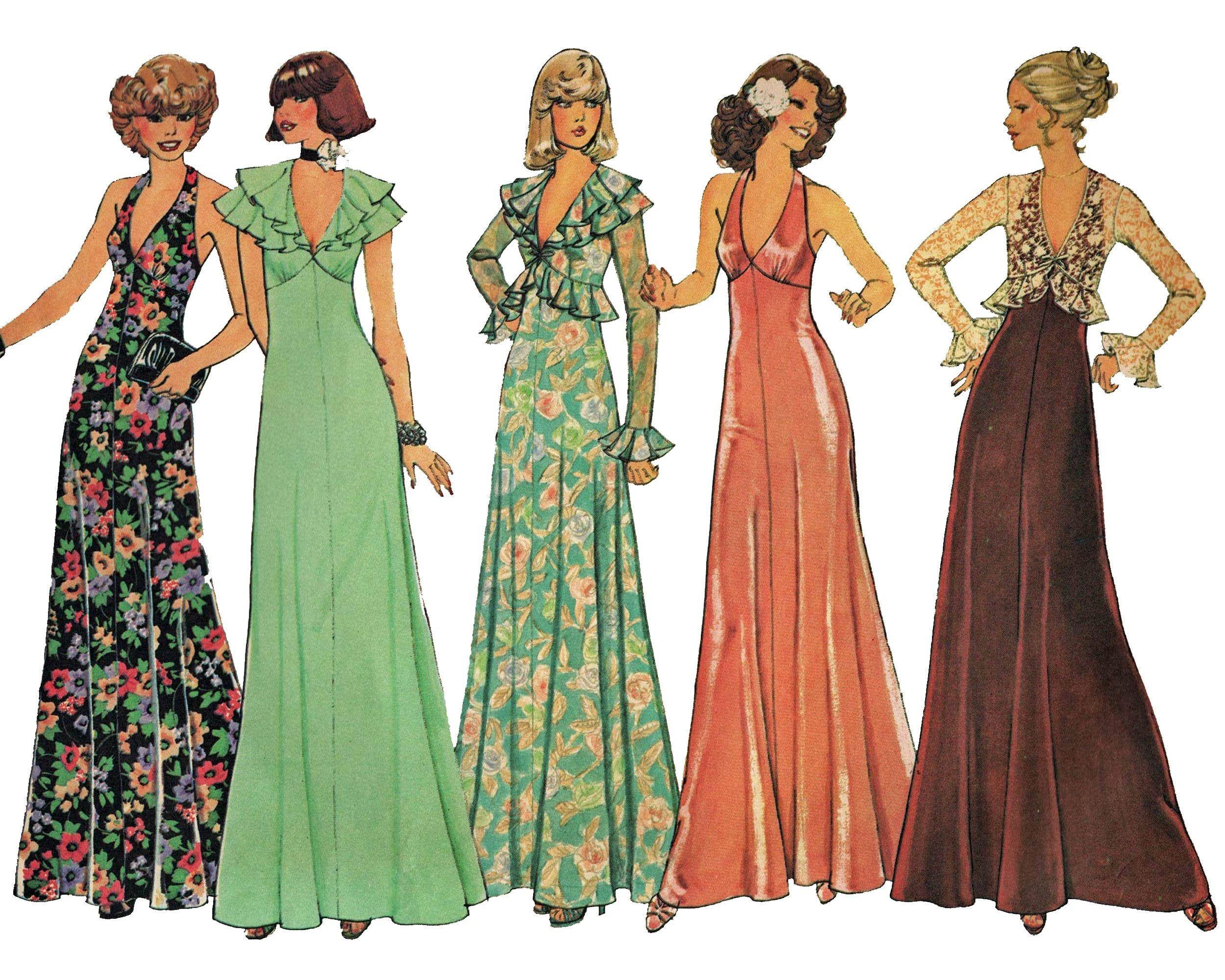 Maxi Halter Dress Pattern Size 8 Vintage 1970s Disco Dress Etsy Gown Sewing Pattern Halter Dress Pattern Vintage Dress Sewing Patterns [ 2000 x 2500 Pixel ]