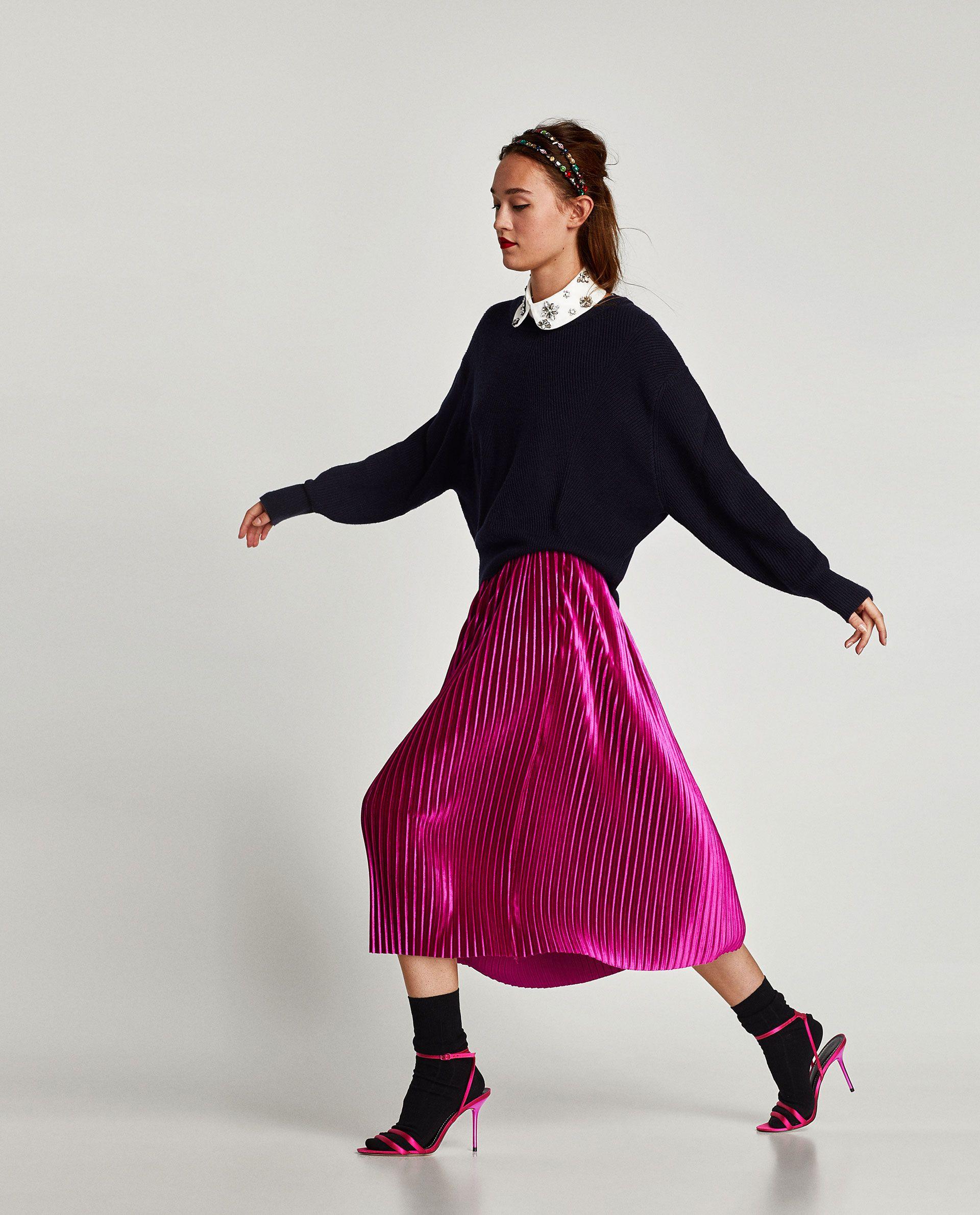 ad37a49f6 FALDA MIDI PLISADA TERCIOPELO | fashion style | Faldas midi, Falda ...