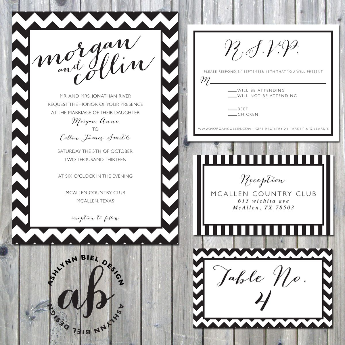 Black & White Modern Wedding Invitation Suite by Ashlynn Biel ...