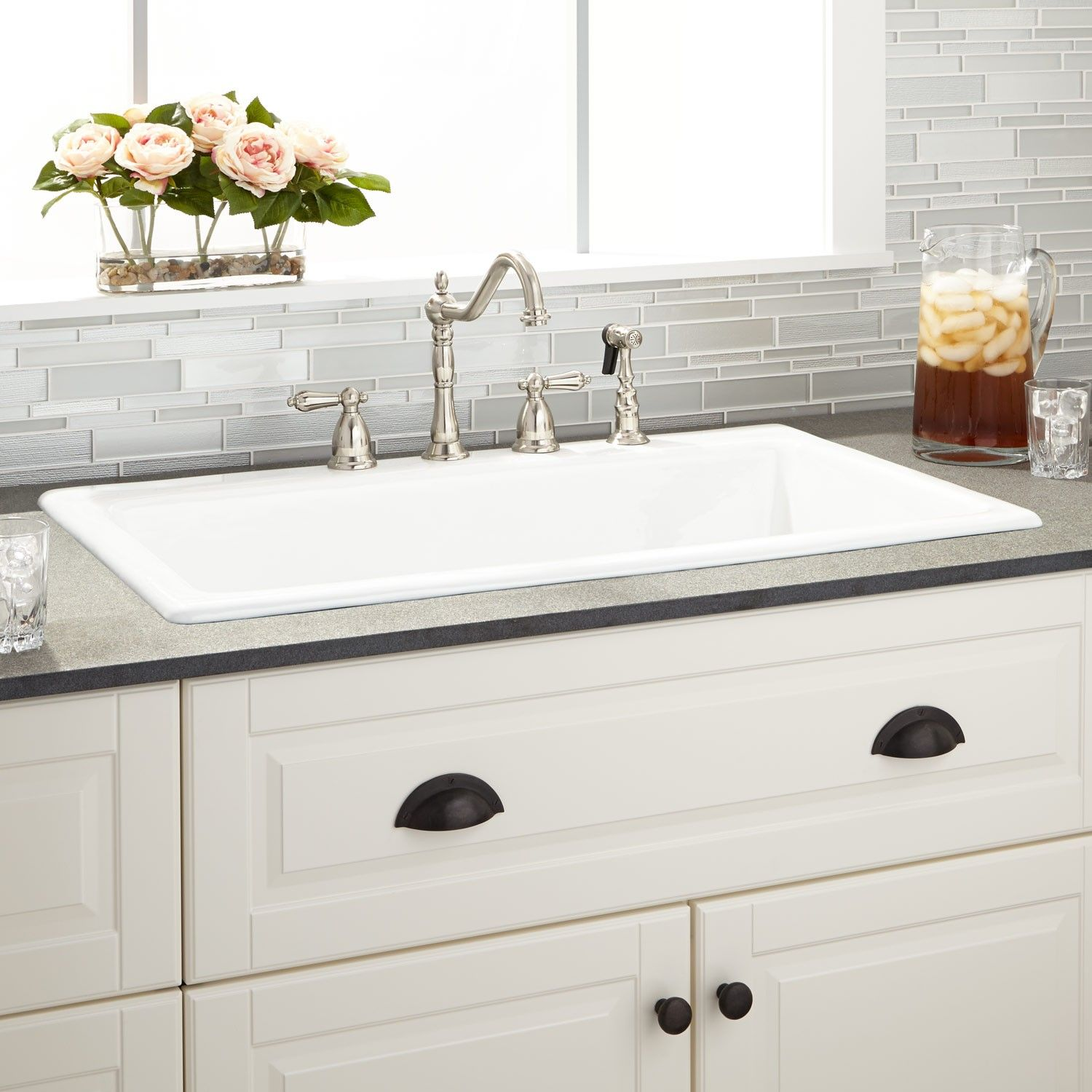 White Kitchen Sink Tall Pantry 36 Quot Frattina Cast Iron Drop In 8 3 4