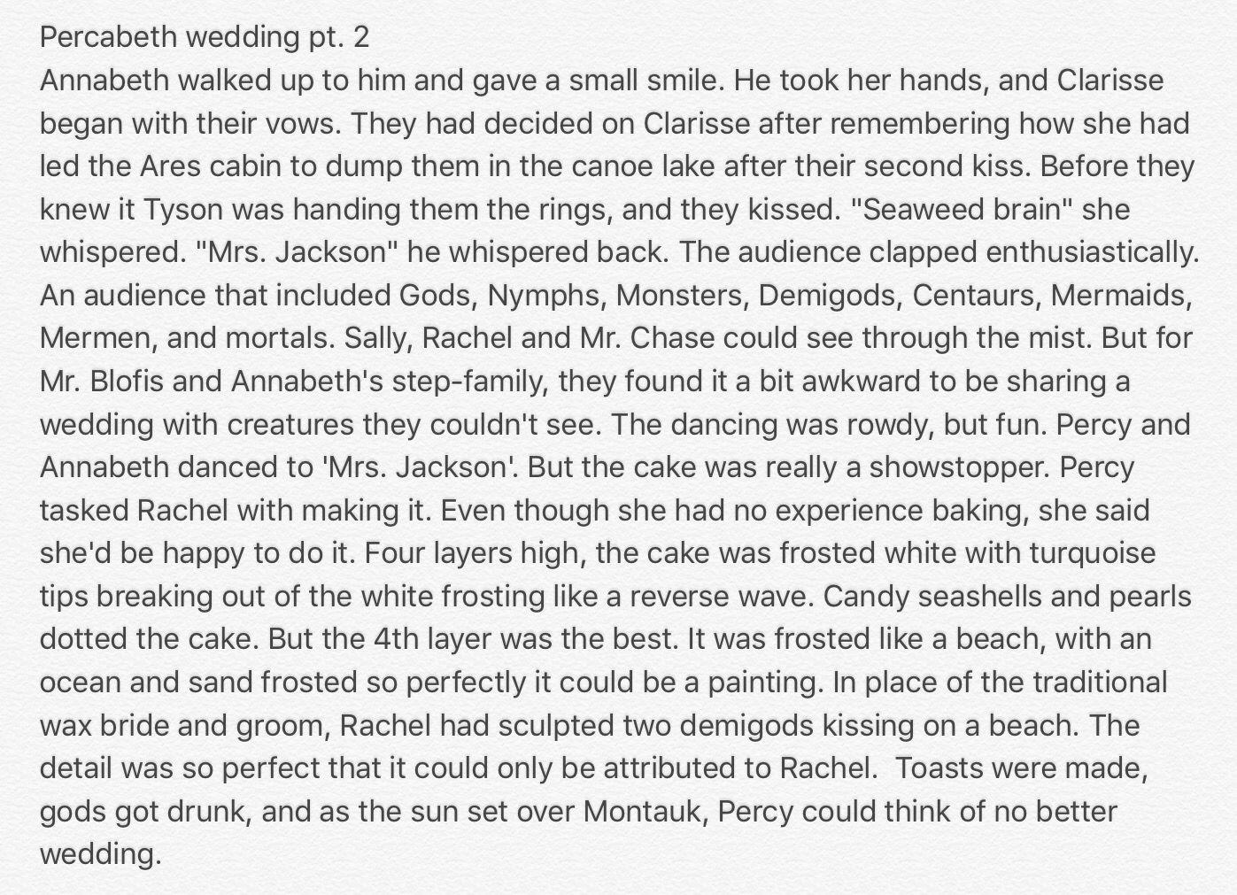 Percabeth wedding fanfic pt 2   Heroes of Olympus   Percy