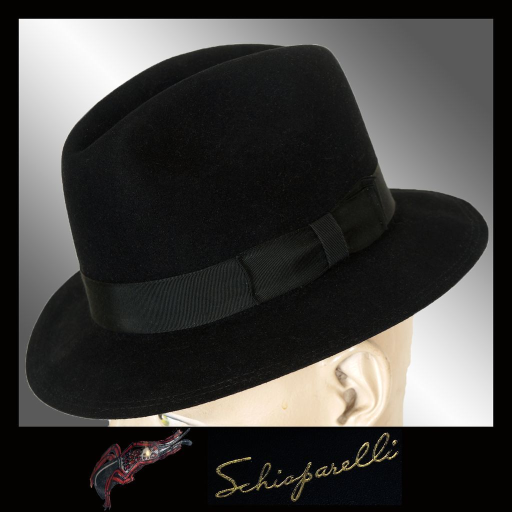 1cbbf2467589c Vintage 60s Schiaparelli Mens Fedora Hat    1960s Rat Pack Mad Men Style  Size 6 3 4 Small