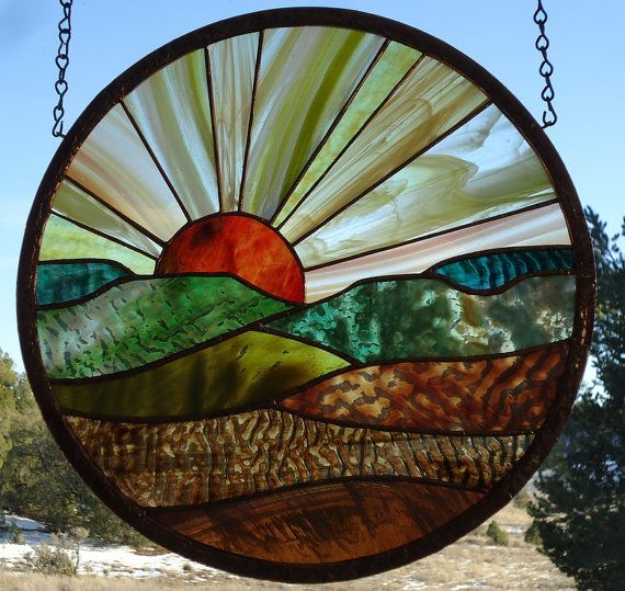 Stained Glass Window Panel Forever Sunset 2 Stained Glass Sunset Round Stained Glass Stain Glass Suncatcher 14 7 8 Stain Glass Window Art Stained Glass Windows Stained Glass Diy