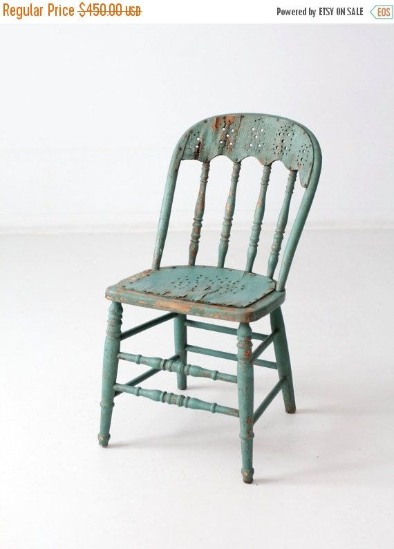 Sale Antique Primitive Wood Chair Spindle Back Green Chair Green Chair Chair Wood Chair