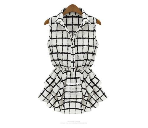 Women black white plaid sleeveless chiffon bandeau ruffles blouse Dress WF0327 | eBay