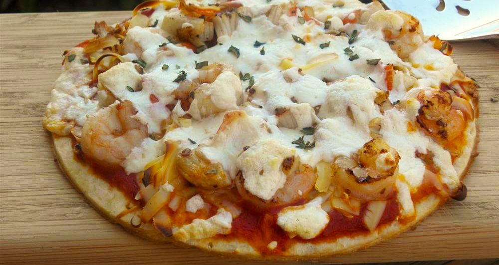 Make this shrimp and crab pizza with Mama Mary's Pizza Crust