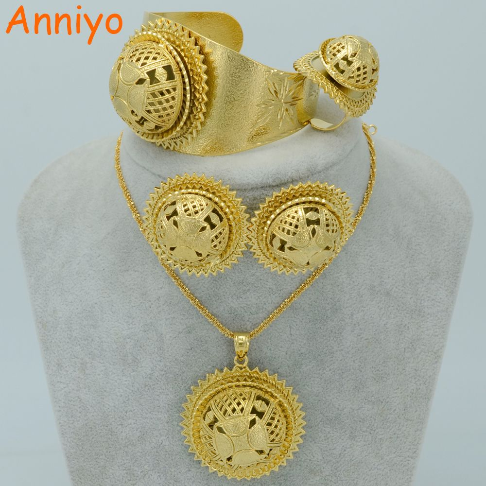 Click to buy ucuc anniyo big ethiopian jewelry sets gold color habesha