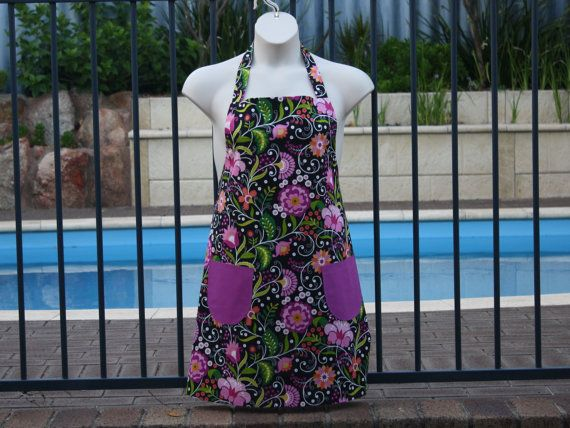 PlusSize Apron in Colourful Floral Fabric by neddynibbles on Etsy, $35.00