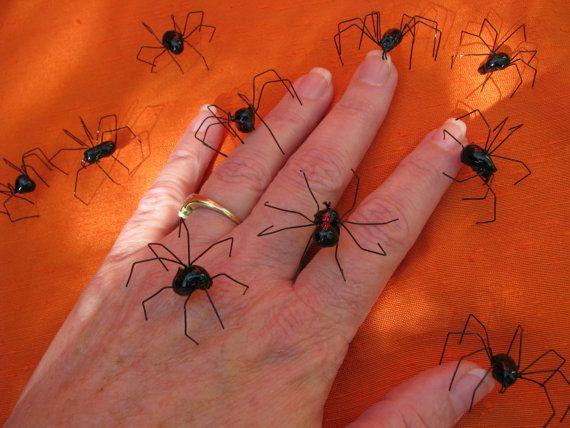 handmade black widow spiders