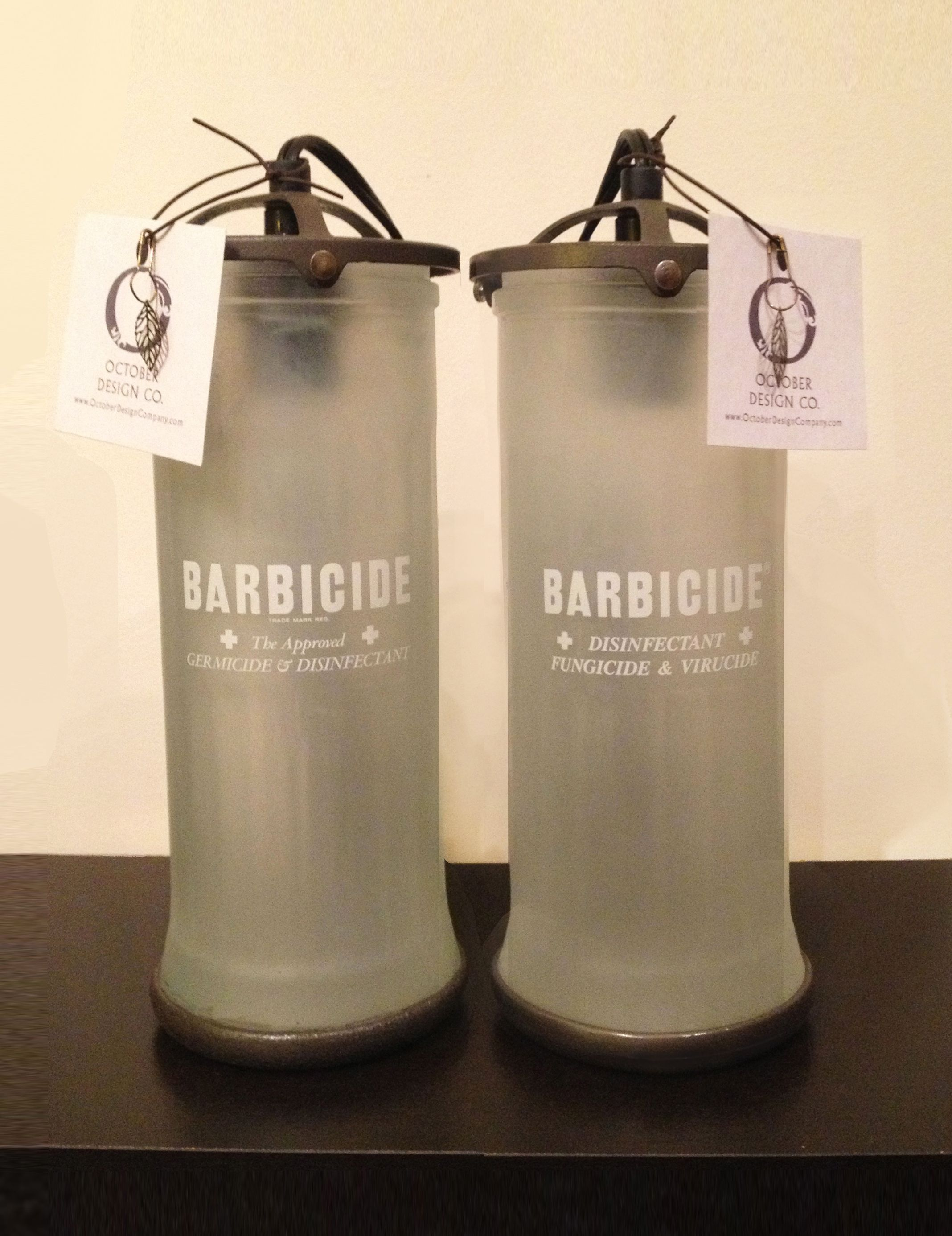 Barbershop Lamps From Upcycled Barbicide Jars, Created By Stephanie Reppas,