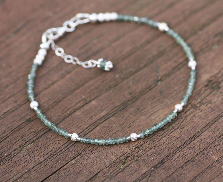 Natural Alexandrite and Stardust Bead Bracelet Sterling