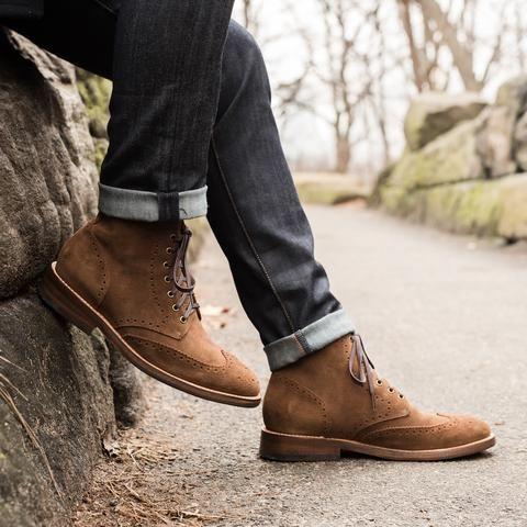 Wingtip | Cognac Suede | Wingtip boots