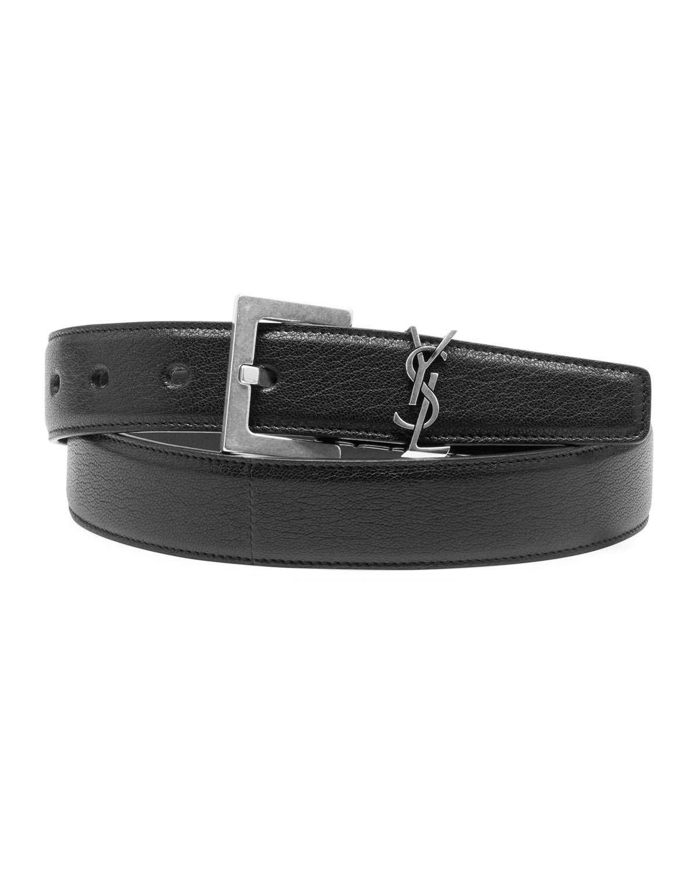 Saint Laurent Men S Ysl Lamb Leather Belt Leather Fashion Belts Saint Laurent