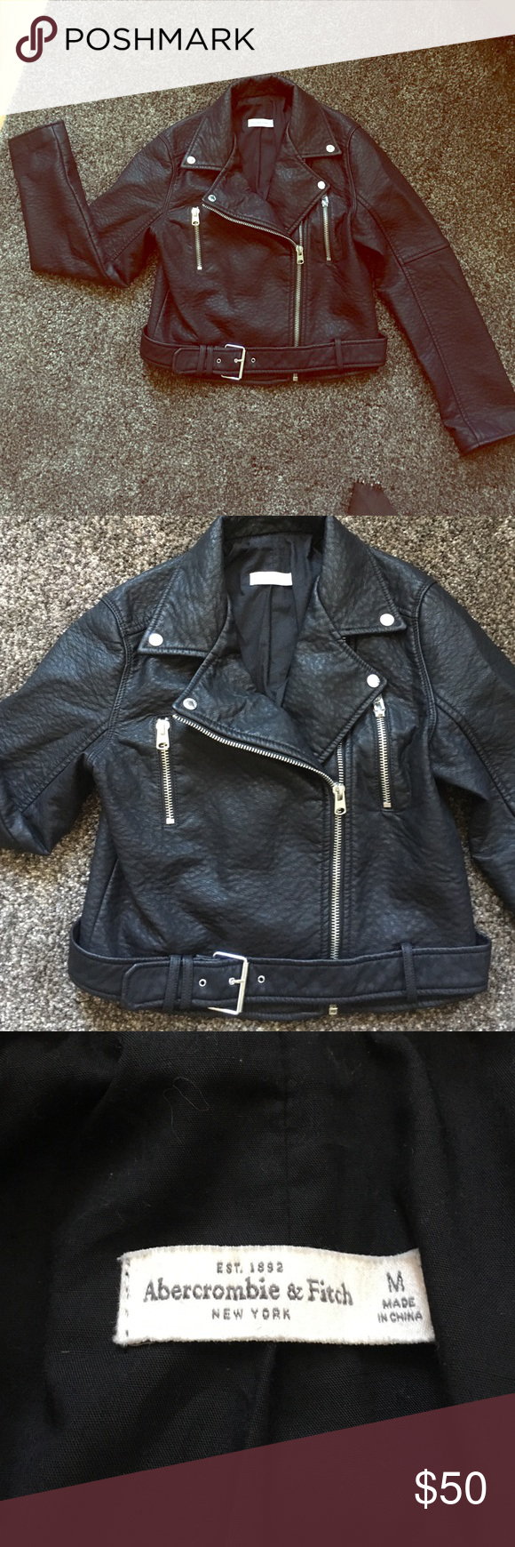 Motorcycle Leather Jacket Abercrombie & Fitch Sz M Gorgeous leather jacket! Only worn once. Faux leather. Does not feel cheap!!! Very well made and has some weight to it. Too big for me or I would keep it. Silver zippers and detailing! Size Medium. Purchased from Abercrombie & Fitch. Abercrombie & Fitch Jackets & Coats