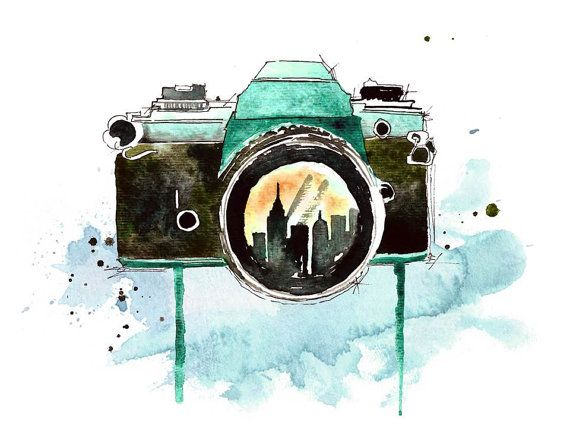 Camera Watercolor Painting Print Photography Artwork Photography