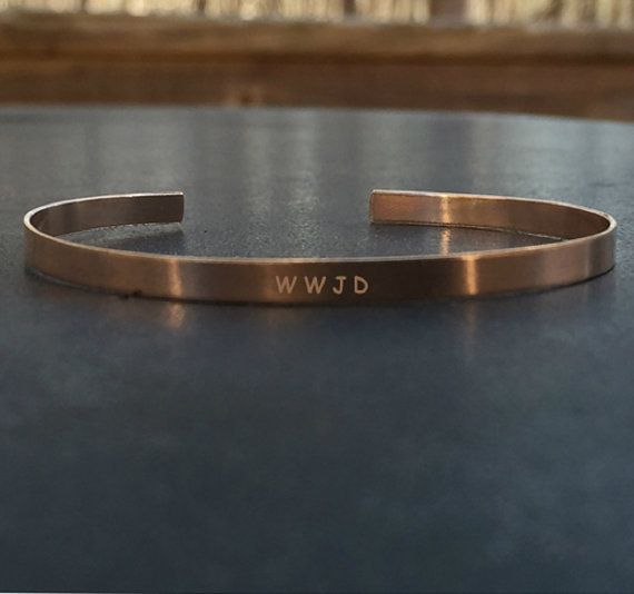 WWJD  5mm 14k Rose Gold Filled Stamped Cuff by WhitneyGrey on Etsy
