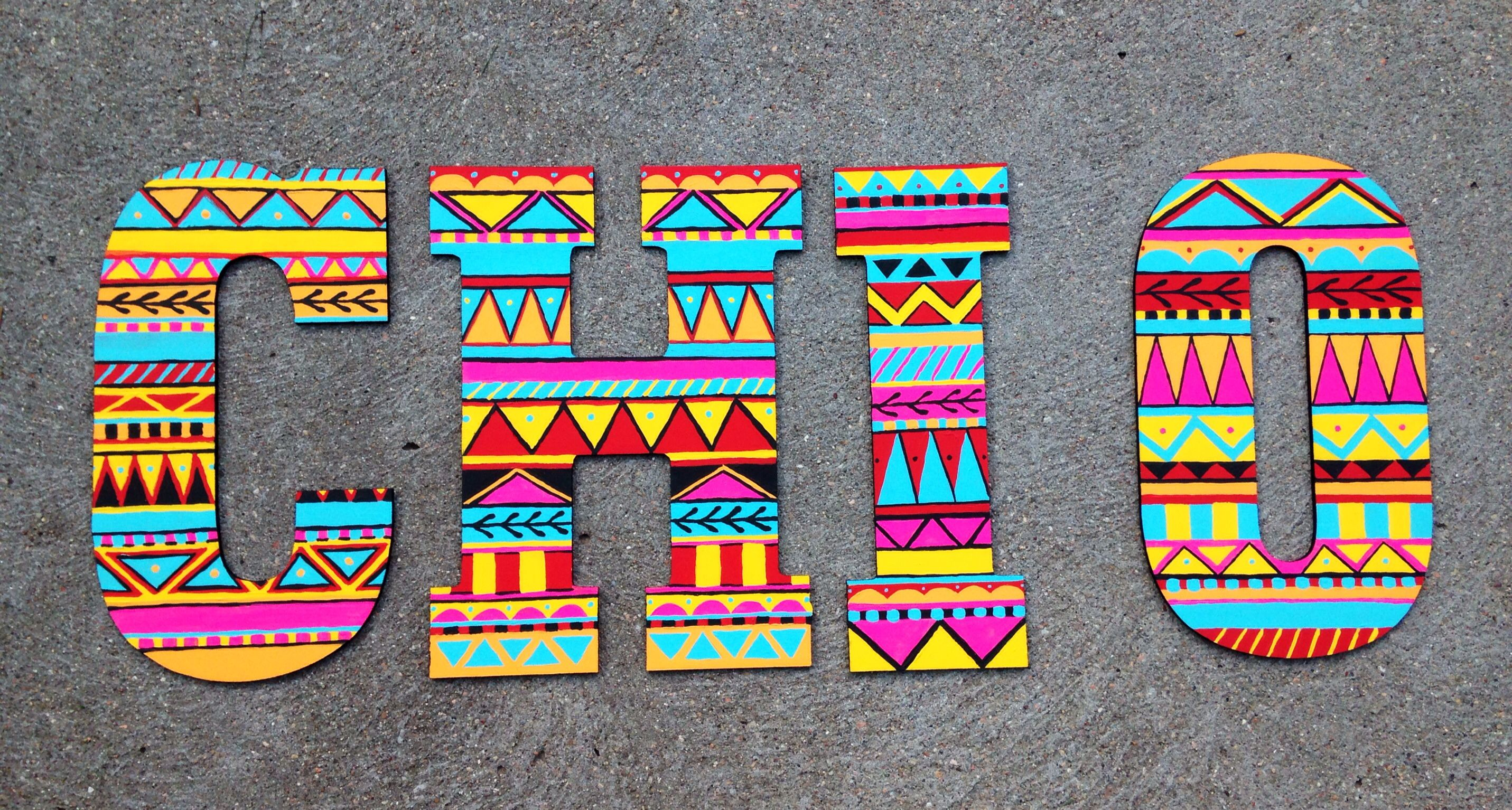 These Chi Omega painted letters are the cutest!!
