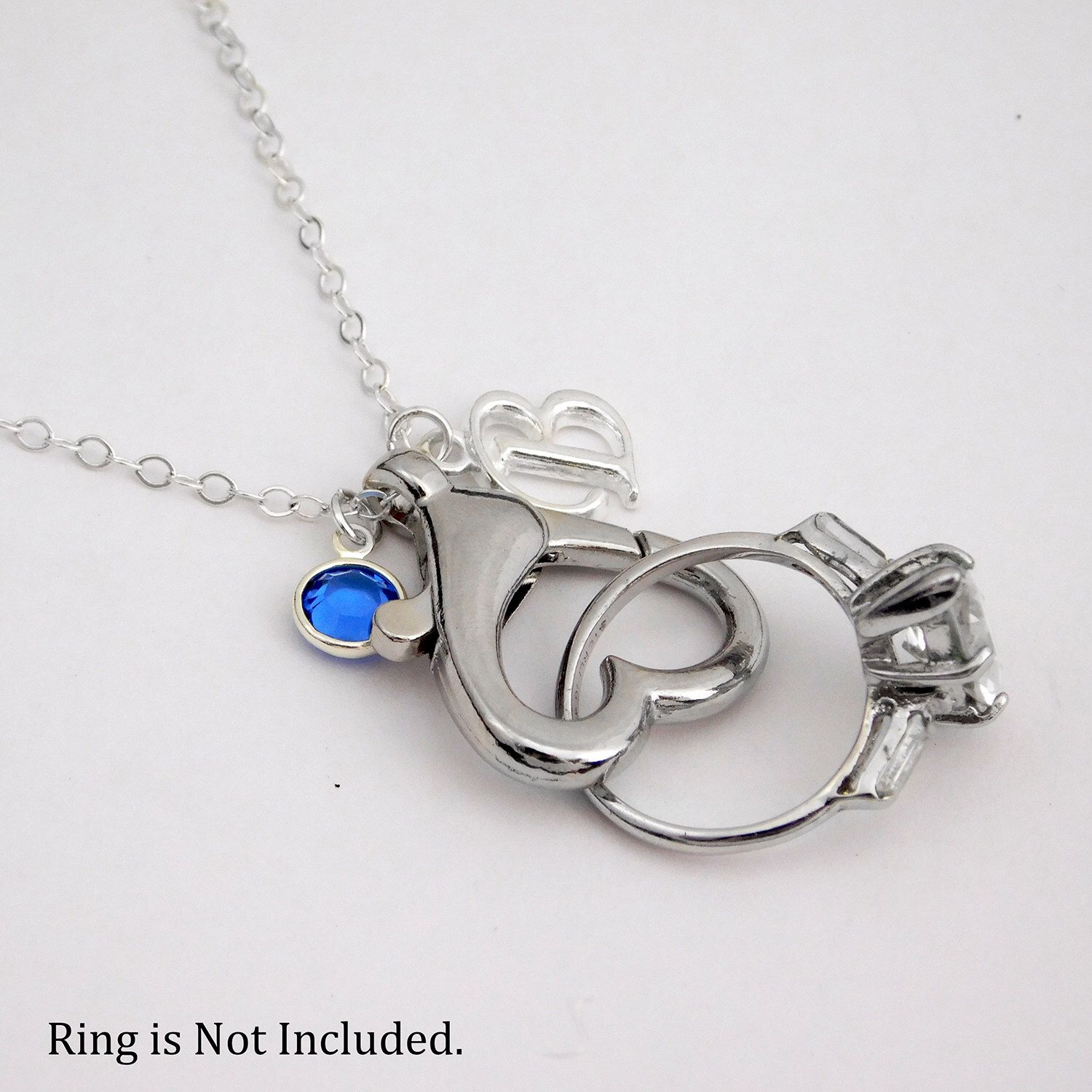 Wedding Ring Holder Necklace with Initial Charm and