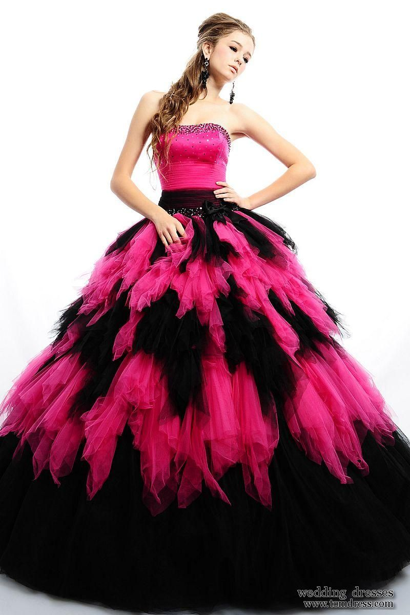 Black n pink floor length poofy dress dresses formal pinterest