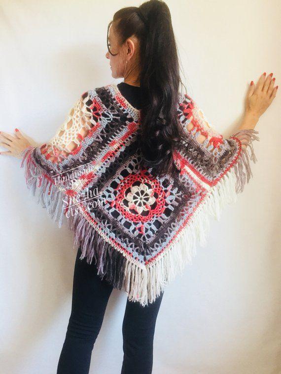 Wool PONCHO WOMEN Crochet Poncho Cape Shawl Hand Knit Poncho Sweater Winter  loose Plus Size Boho Gra 2b1304375e449