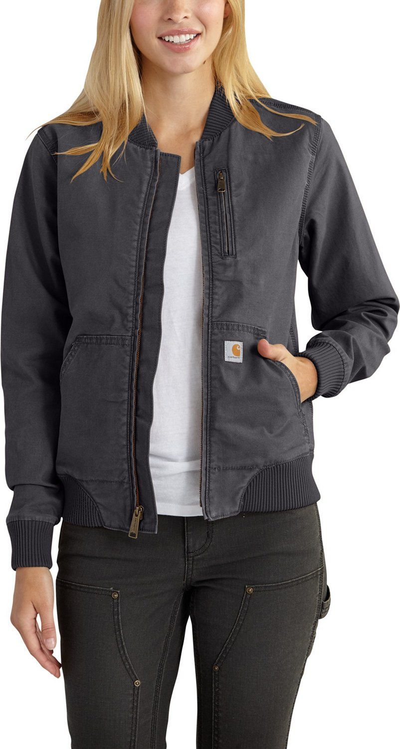The Carhartt Women S Crawford Bomber Jacket Features Rugged Flex Stretch Fabric And A Mesh Lining In 2021 Bomber Jacket Women Womens Bomber Bomber Jacket [ 1500 x 802 Pixel ]