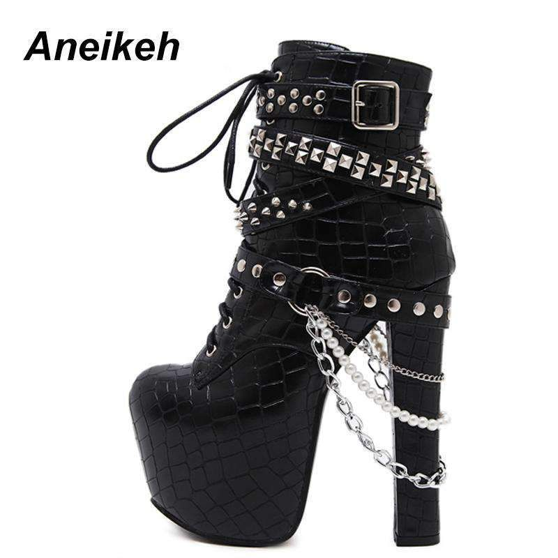 Aneikeh Gothic Metal Chains Rivets High Heels Platform Ankle Boots