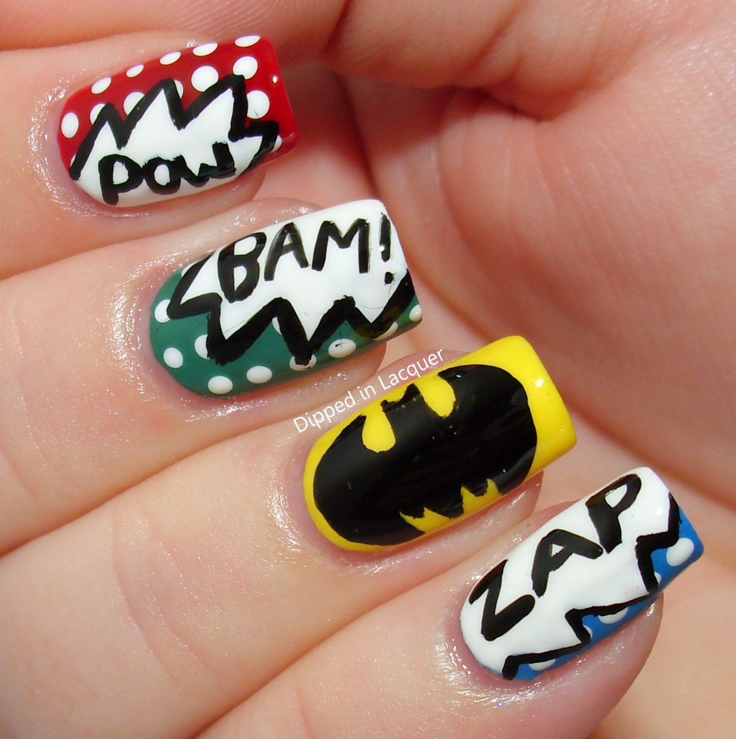 Comic-Con inspired Batman Fingernail Art (by Nicole from Dipped in ...