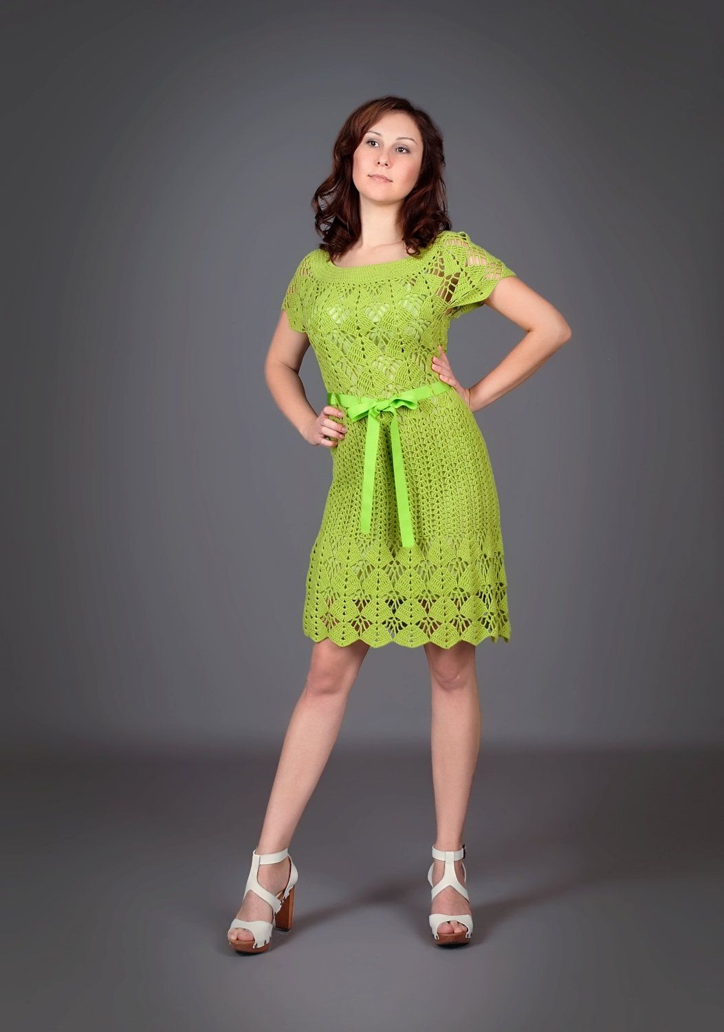 Green yellow spring-summer exclusive crochet dress via Etsy.